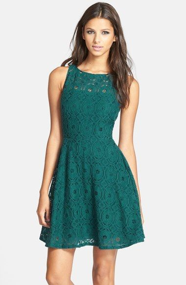 Emerald Green Lace Fit and Flare Dresses