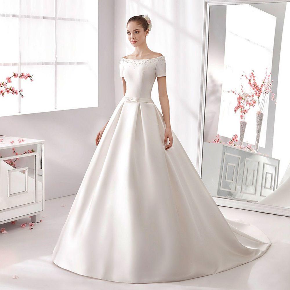 2016 vestido de noiva Einfache Elegante Mode Weiß/Elfenbein Boot ...
