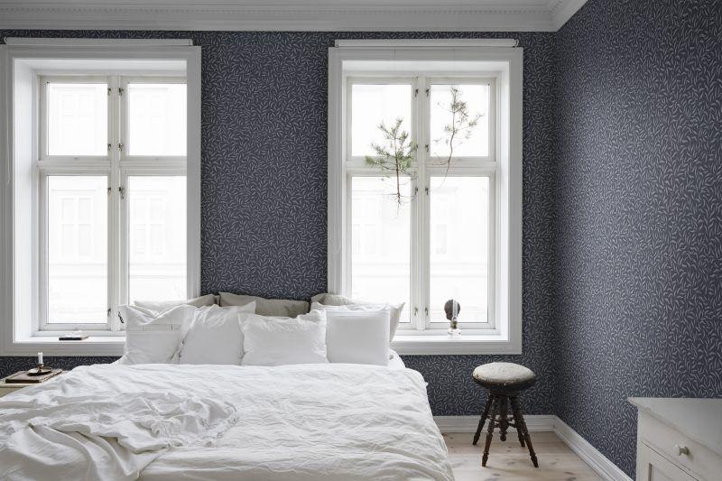 Karolina Dark Blue Dark blue wallpaper, Airy bedroom