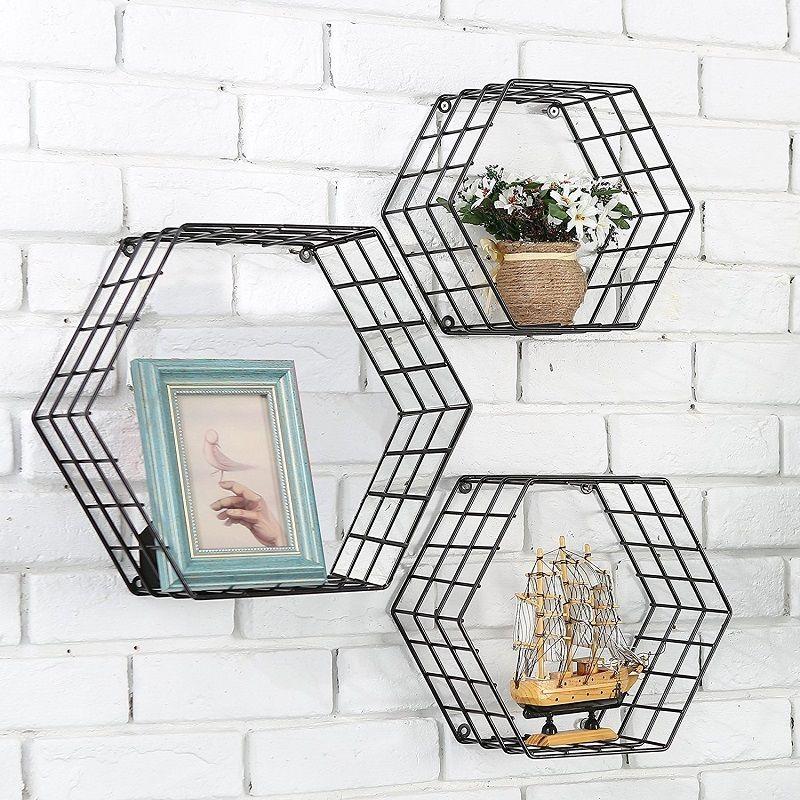 Wire Wall Shelf   Metal Wire Wall Mount Floating Shelves Display Rack Hexagon Shelf
