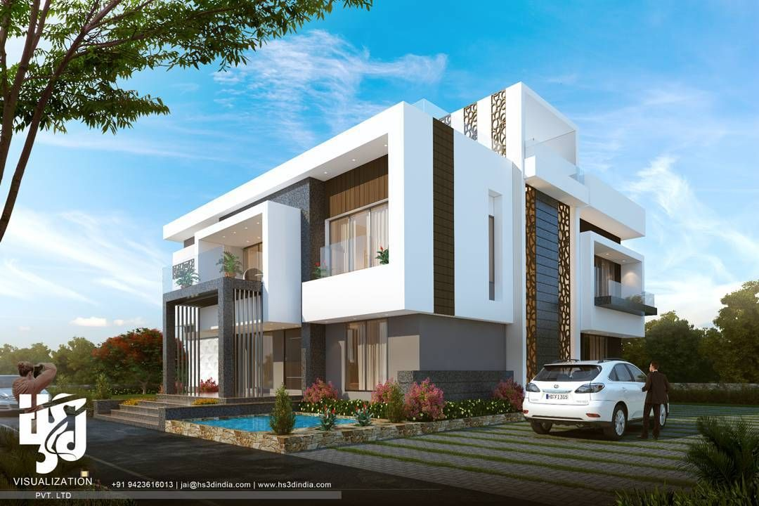 Modern villa 3dvisualization hs3dindia archdaily for Plan d architecture villa moderne