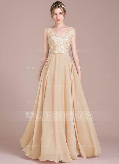 € 134.11  A-Linie Princess-Linie V-Ausschnitt Bodenlang Chiffon Lace  Brautjungfernkleid mit Perlstickerei Pailletten (007105581) d89af55c5c
