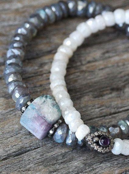 Raw Tourmaline Diamond Bracelet with Diamond Labradorite