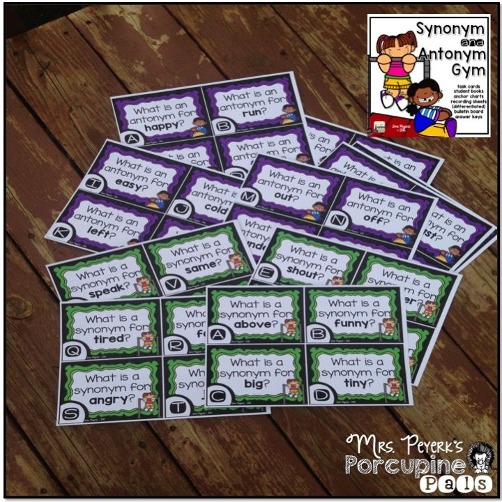 Synonyms and Antonyms Task Cards with Differentiated Recording Sheets