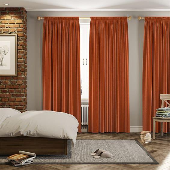 Velvet Terracotta Curtains