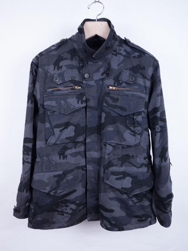 a62e3793c7779 Undercover - 'Portrait' Navy Camo Field Jacket, Men's Spring Summer Fashion.