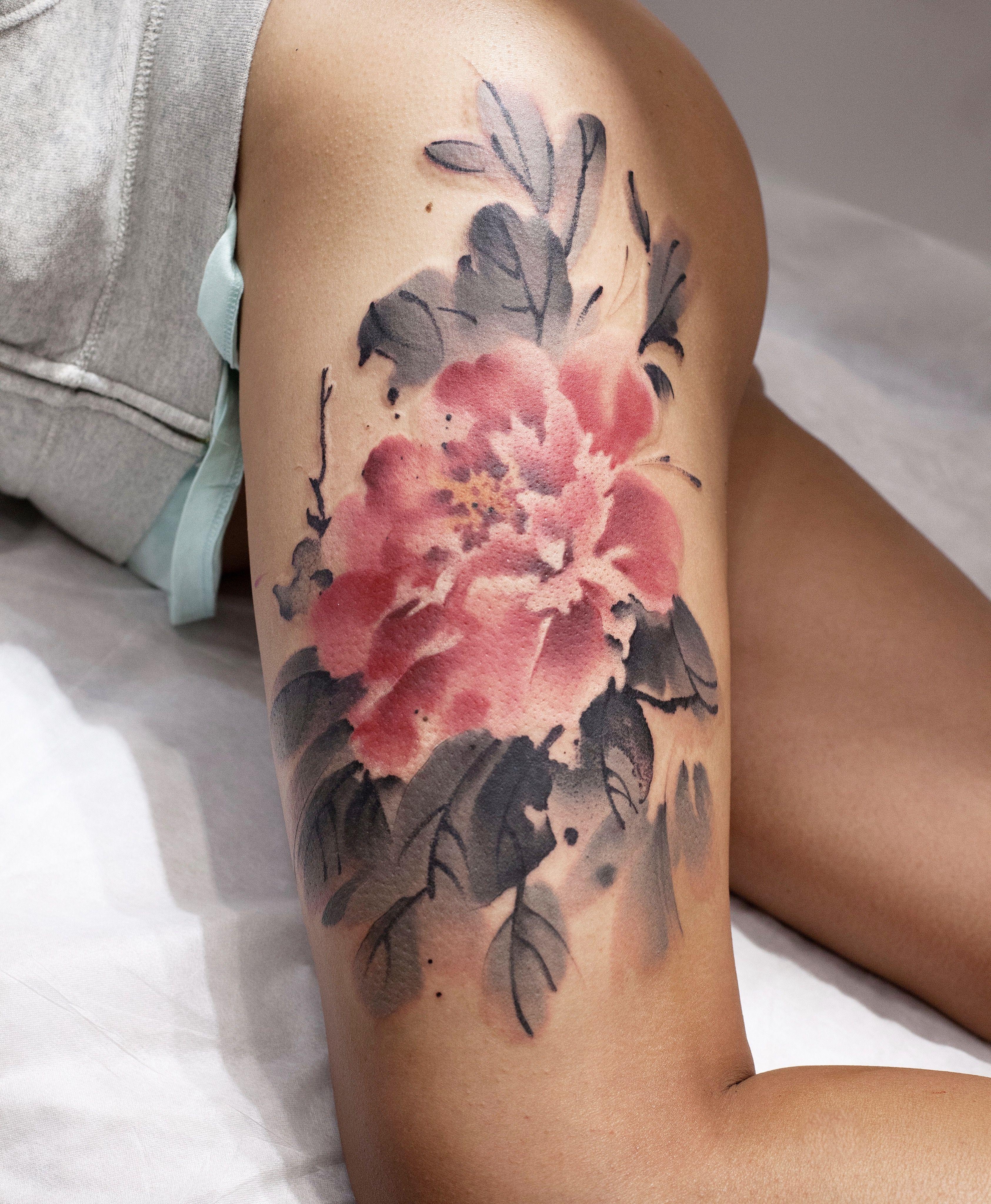watercolor tattoo flower - 736×894