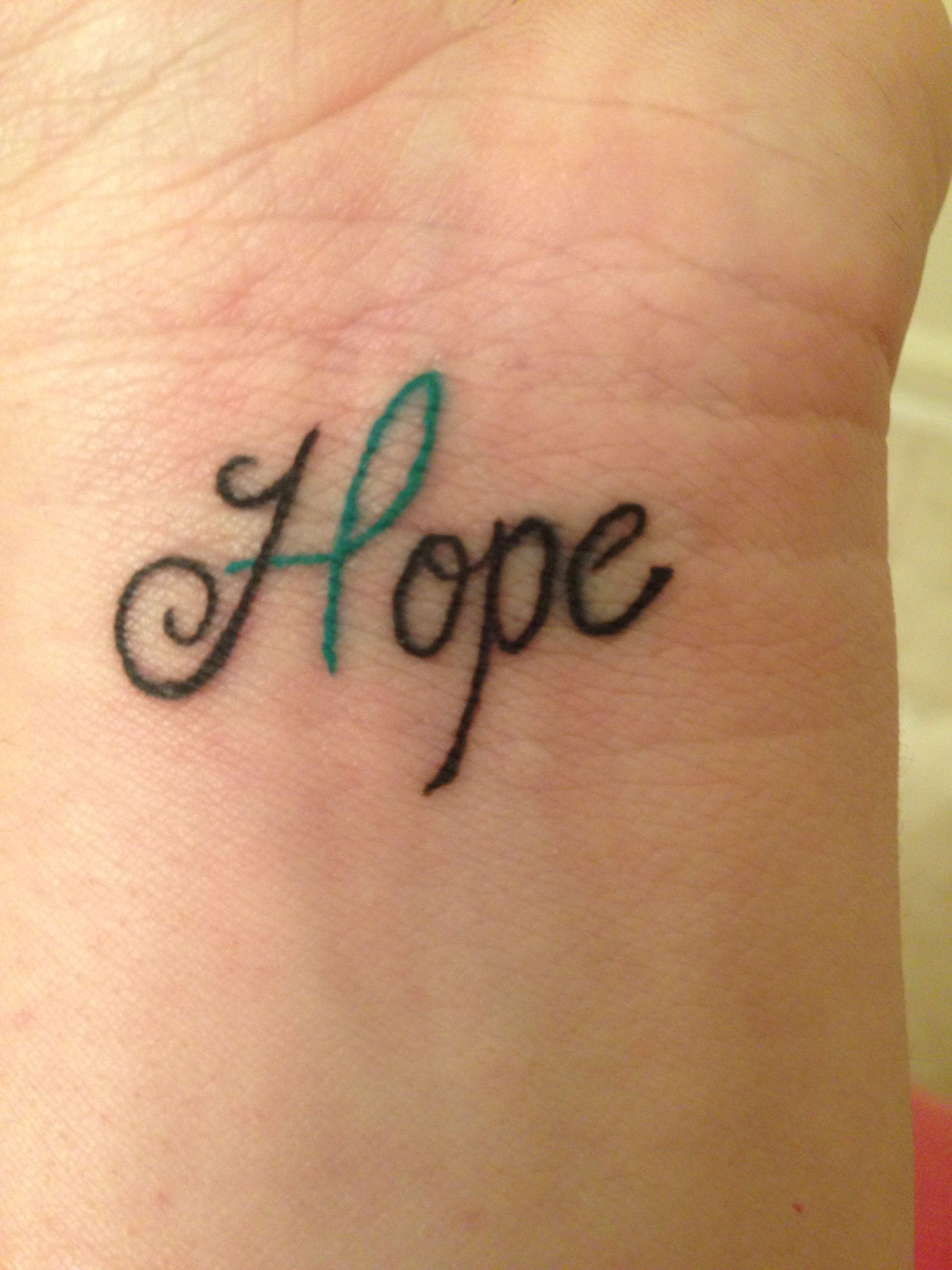 My Hope Wrist Tattoo W Green Mental Health Awareness Ribbon Yay For Being