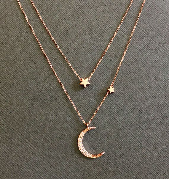 Rosegold Star and Crescent Moon Necklace, Layered Necklace ...