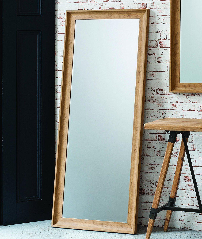 Fraser Leaner FULL LENGTH floor MIRROR wall hung OAK effect 60\