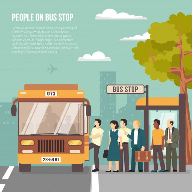 Download City Bus Stop Flat Poster For Free Bus Stop Illustration Bus