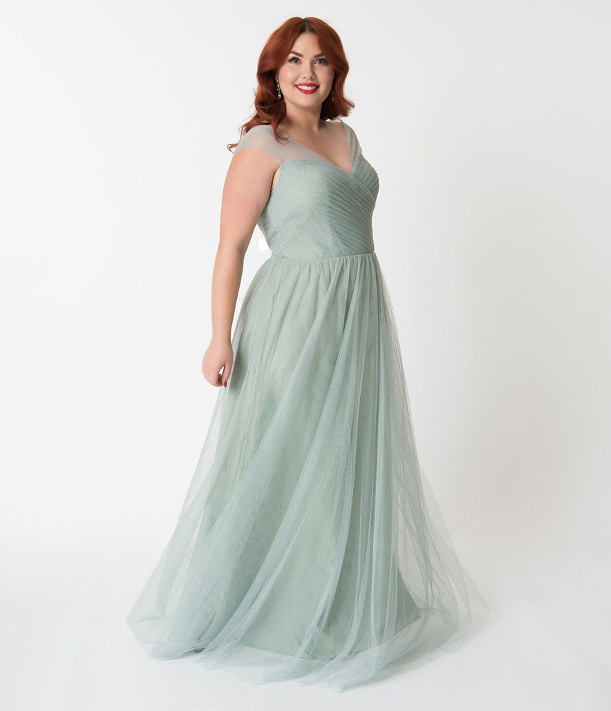 019adc82b5e Plus Size Sage Green Mesh Wrapped Sweetheart Neckline Long Dress in ...