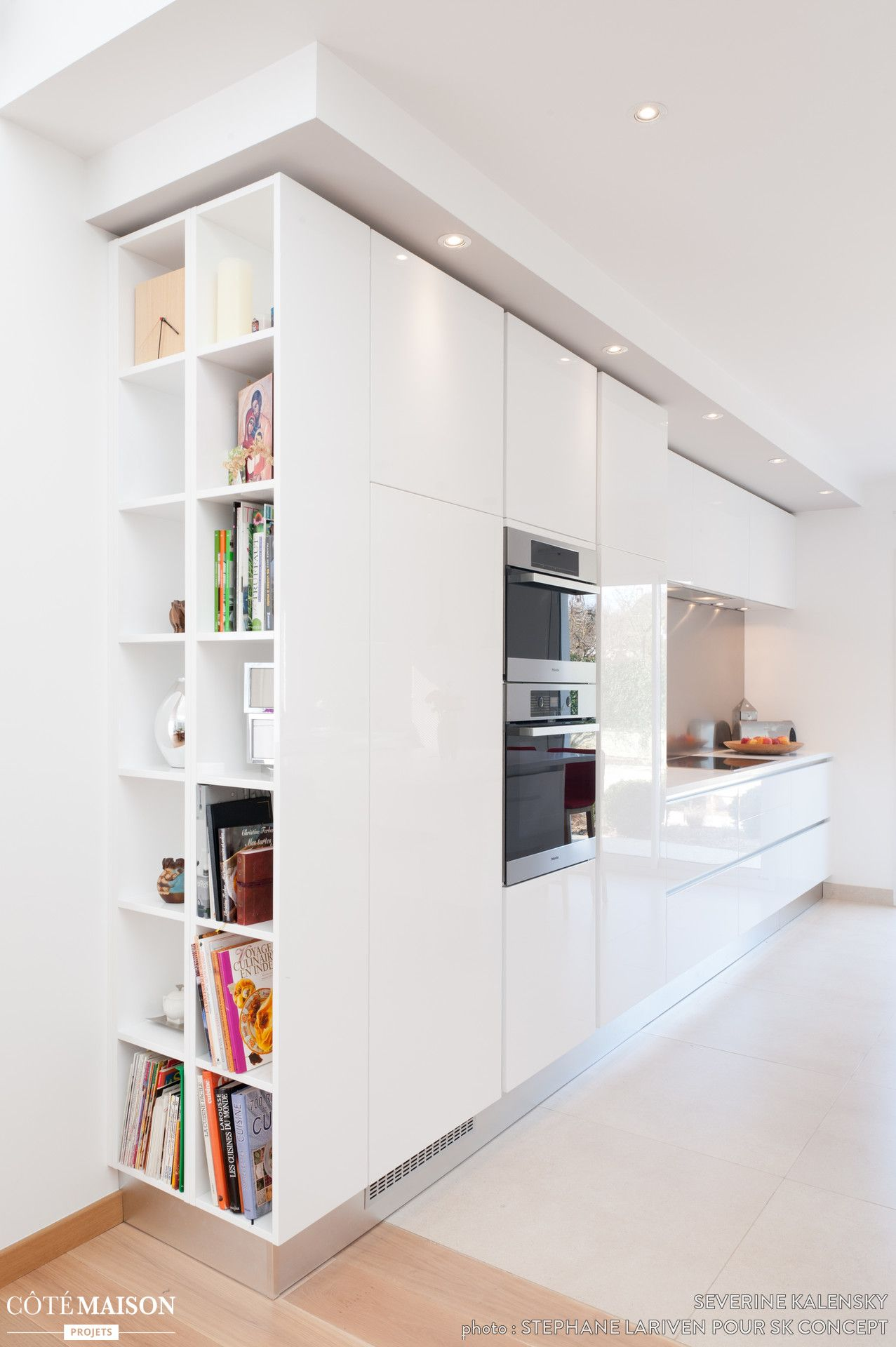 Kitchen Bookcase Cuisine Blanche Design Armony Daumesnil Finition Extraame Blanc