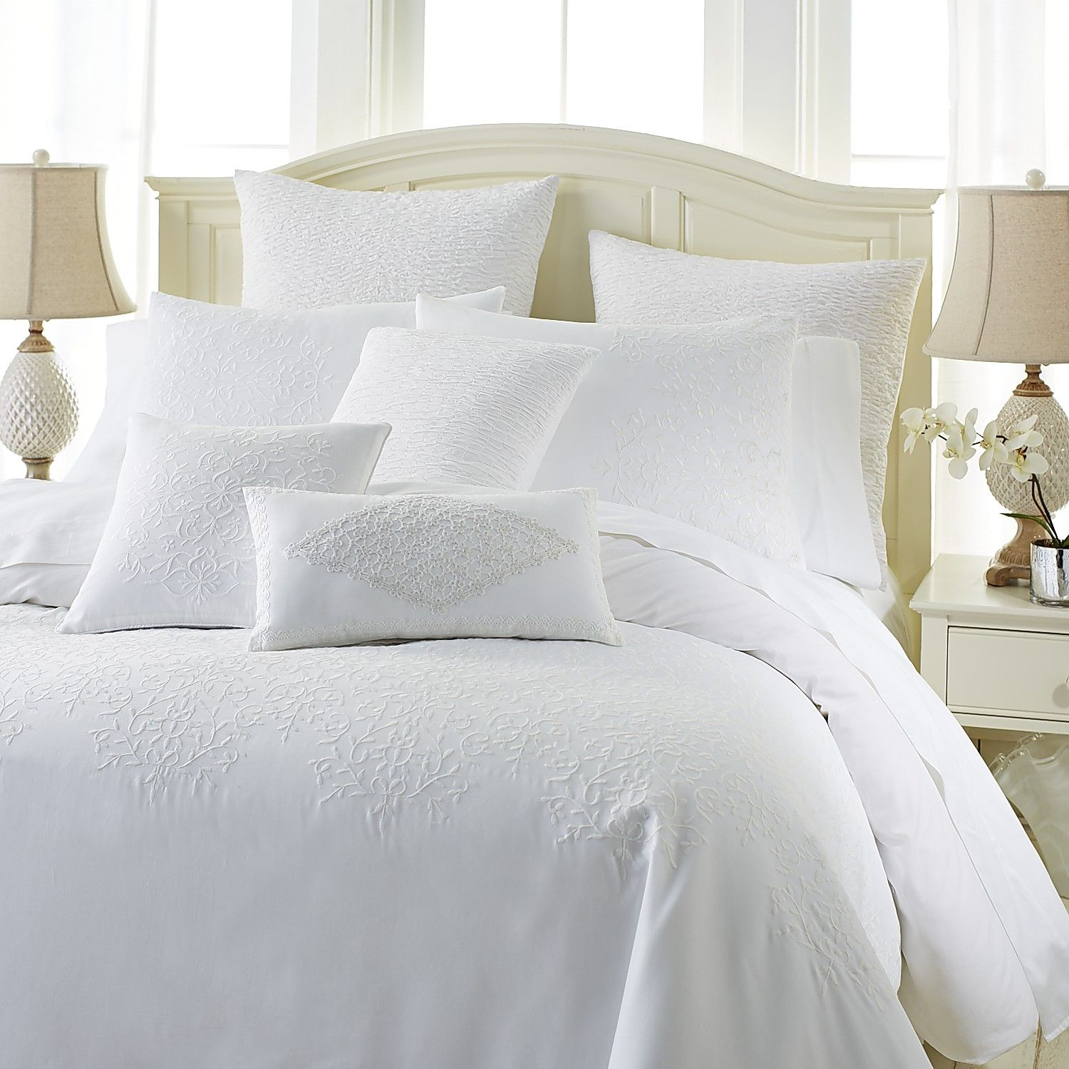 Lace Embroidered Duvet Cover Amp Sham White Cotton