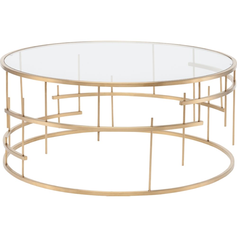 Tiffany Round Coffee Table W Clear Glass On Brushed Gold