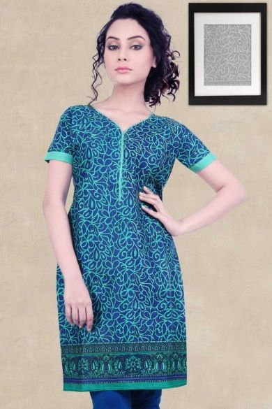 Denim #BlueCotton Printed Casual and Party Kurti Sku Code:372-5465KT508718 US $ 10.00 http://www.sareez.com/product_info.php?products_id=169606