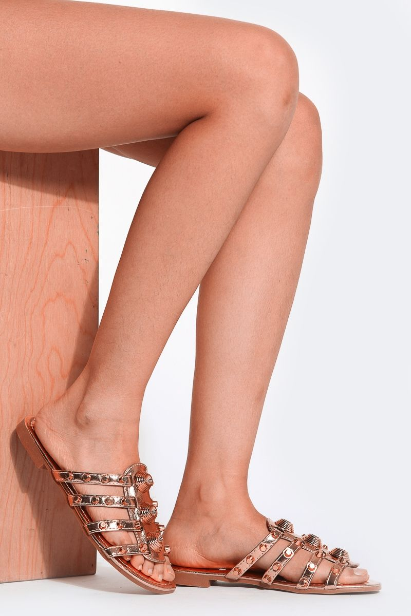 6c9e17a2d Rose Gold Studded Faux Patent leather Slide Sandals   Cicihot Sandals Shoes  online store sale Sandals