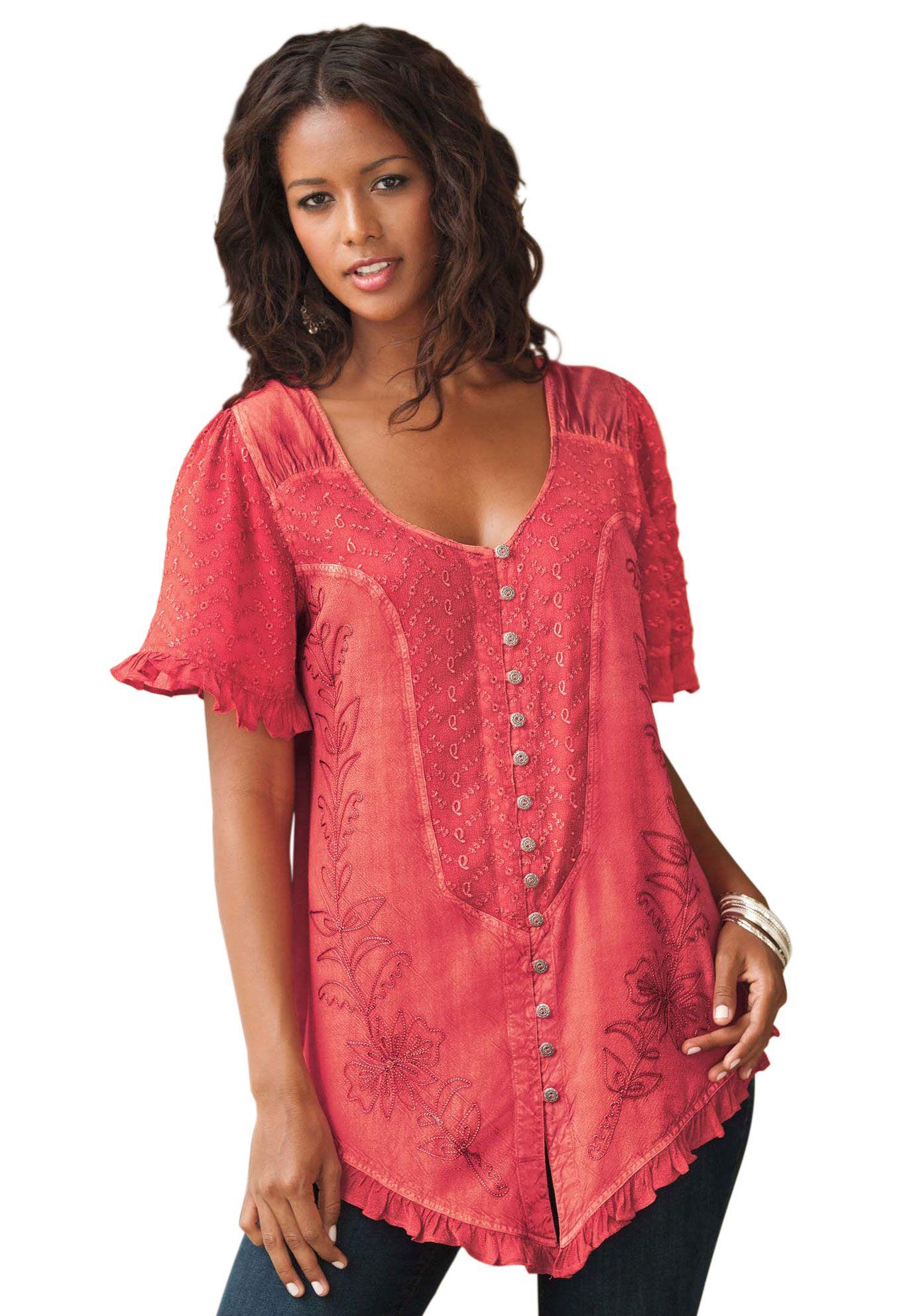 The acid wash blouse by denim plus size short sleeve