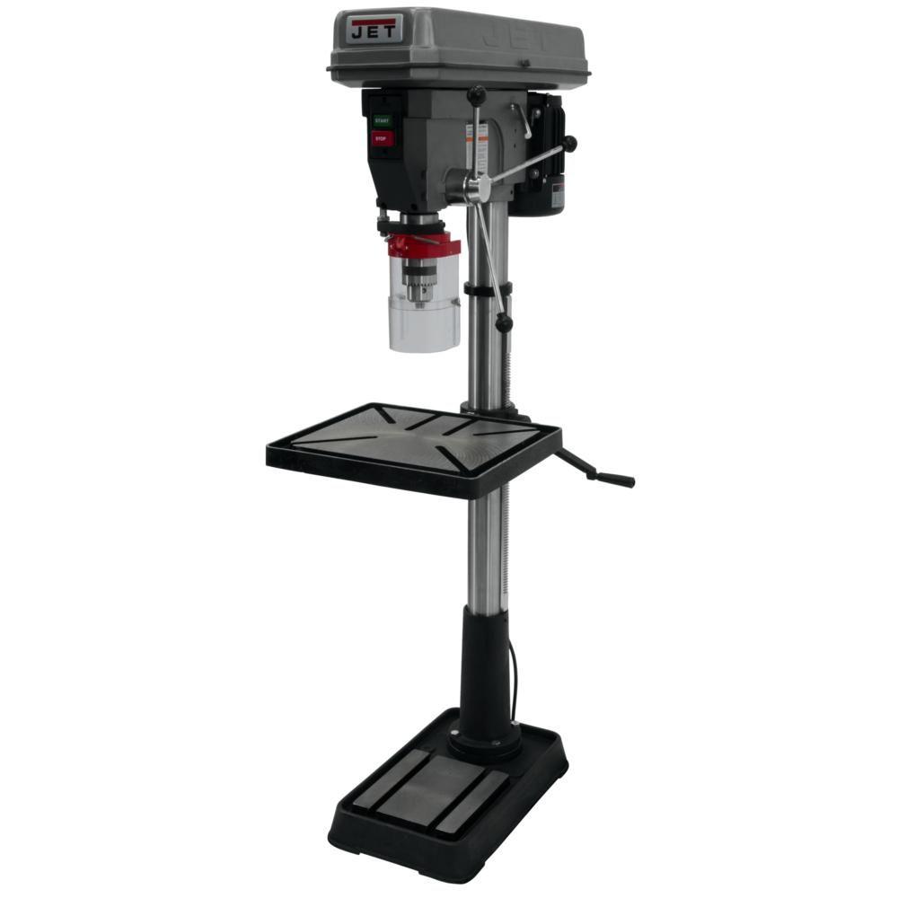 Jet 1 5 Hp 20 In Floor Standing Drill Press With Worklight 12 Speed 115 230 Volt Jdp 20mf Drill Press Woodworking Drill Press Drill