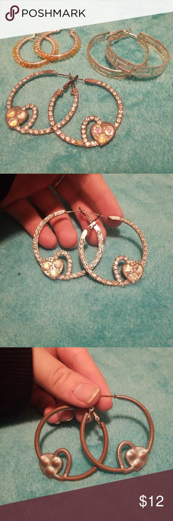 a766ff2aa Hoop Earring Bundle 3 pairs of hoop earrings, cute embellished heart rhinestone  hoops, yellow beaded hoops, and vintage maze hoops. Jewelry Earrings