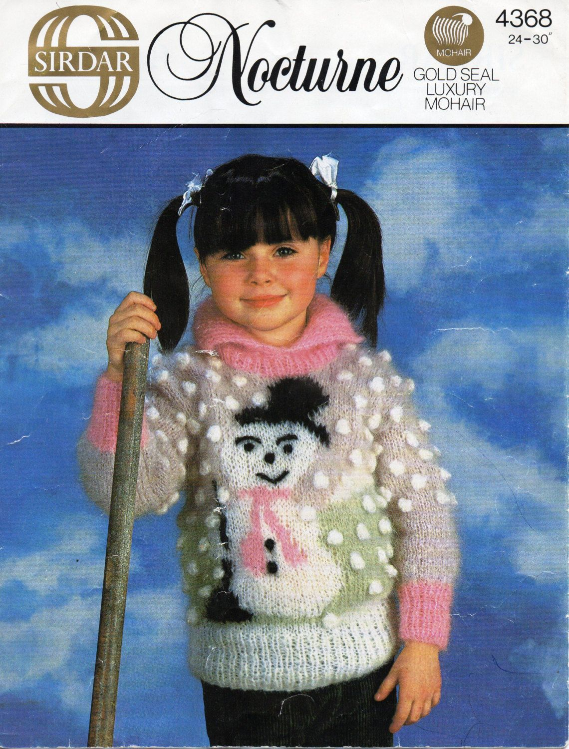 Childrens snowman sweater knitting pattern snowman motif 24 30 childrens mohair sweater knitting pattern snowman motif 24 30 inches 10 ply mohair childrens knitting bankloansurffo Image collections