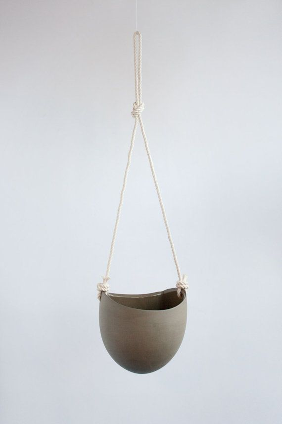 Limited edition! Ash Colored Large Flat Back Planter features pigmented clay which creates a smooth matte tonal look. Featuring a new solid maple