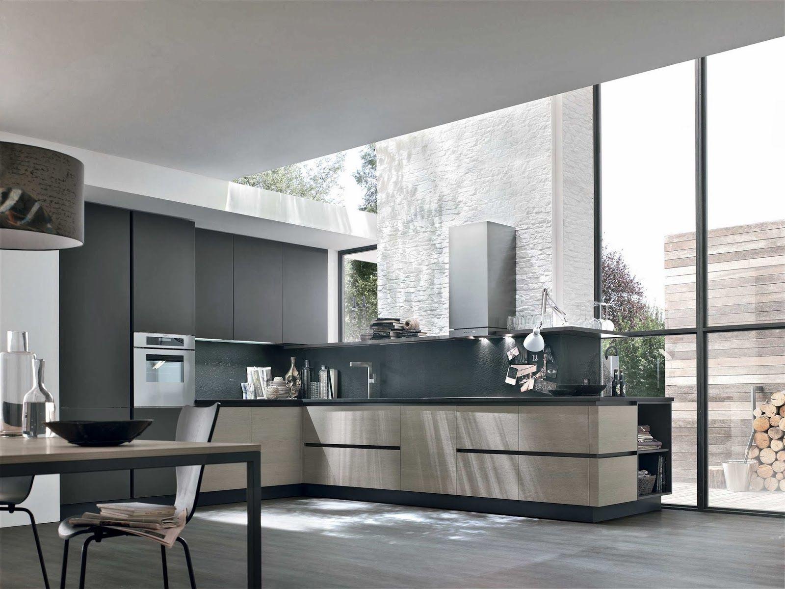 cuisine moderne sans poign es en l taupe et gris anthracite par stosa cuisines kitchen. Black Bedroom Furniture Sets. Home Design Ideas