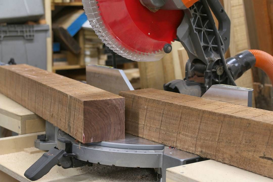 4x4 Walnut Boards Yes Please Gave The Ridgidpowertools Miter Saw A Little Work Out Last Night This One Is Goin Woodworking Walnut Board Woodworking Projects