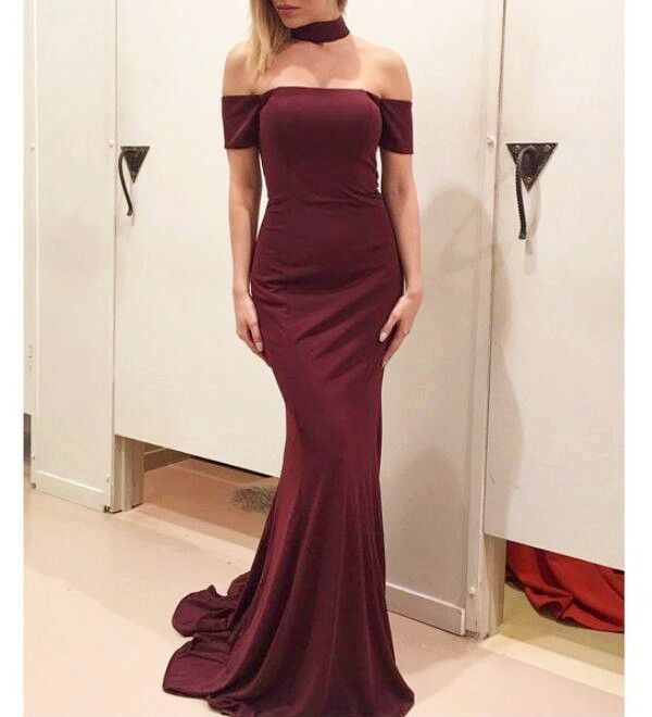 bba5035bad54 Wine Red Spandex Mermaid Elegant Party Gowns