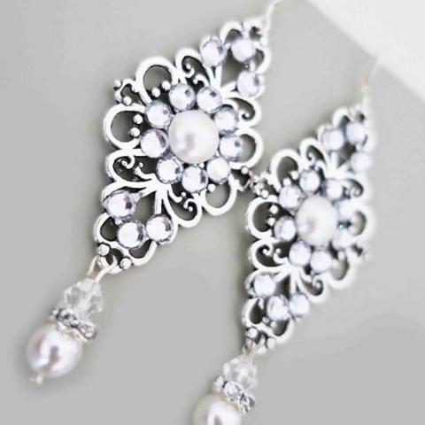 Mac Kenzie Sterling Silver Long Bridal Earrings Vintage Inspired ...