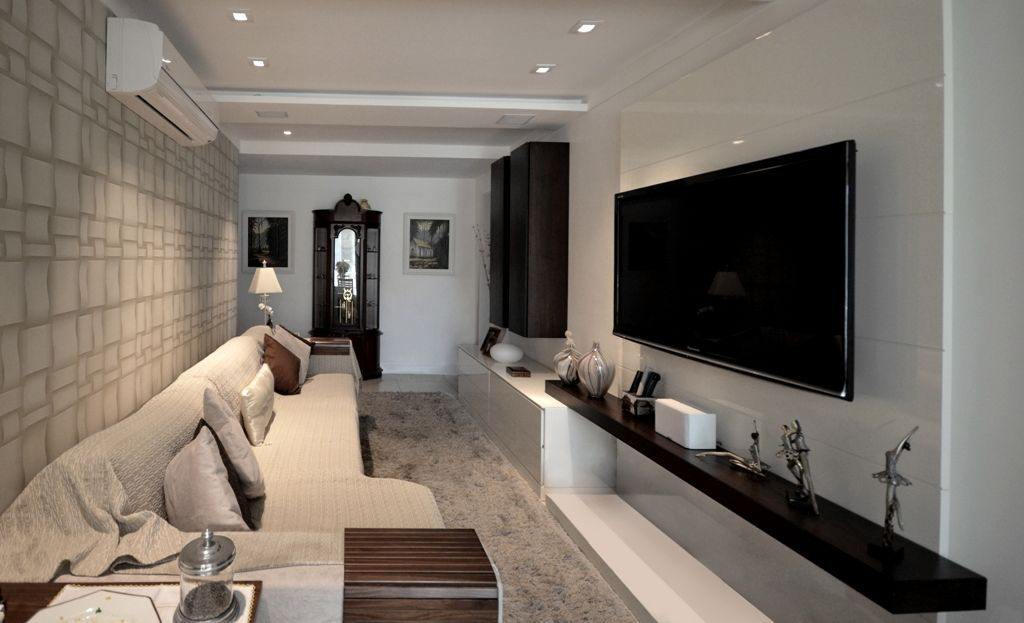 Salas De Tv Em Apartamento ~  TV wallsPinterest  Sala de tv para apartamento, salas de TV e