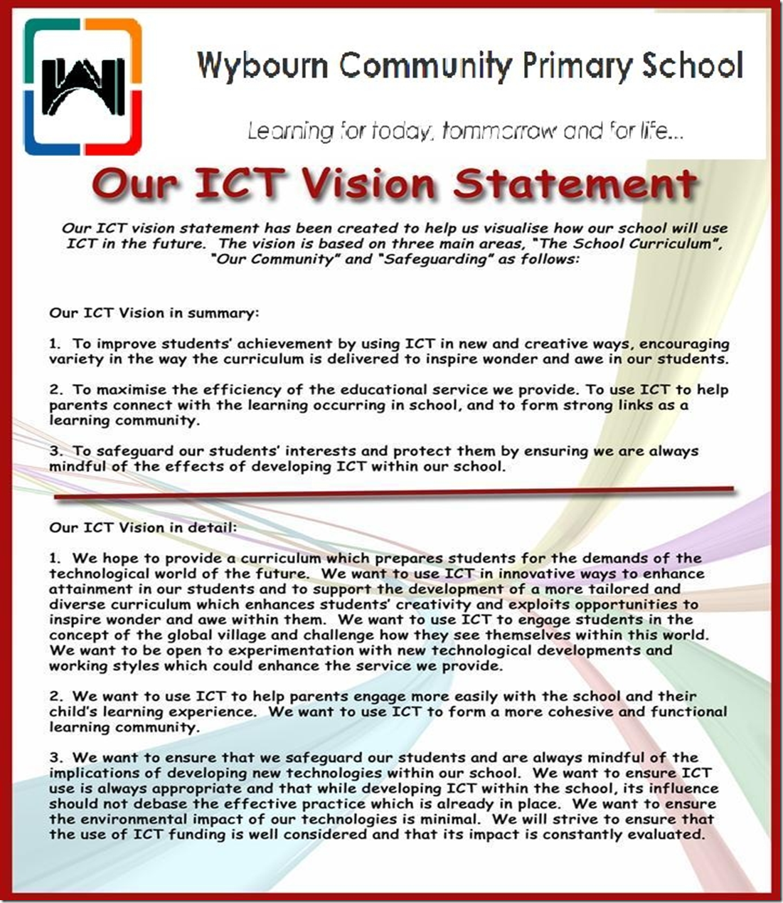 My vision statement for ict