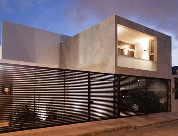 Rejas horizontales minimalistas para fachadas reja edificio - Puertas de casas modernas ...