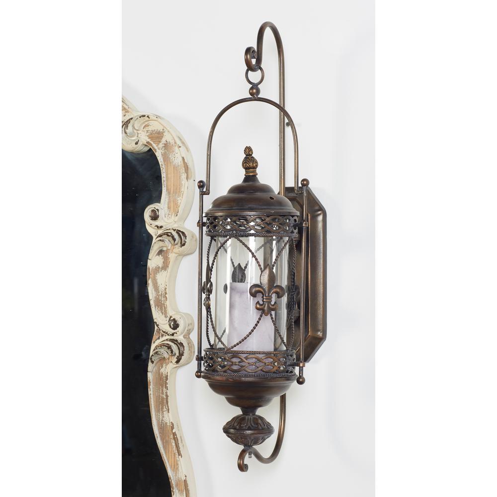 Litton Lane Fleur De Lis Brown Candle Lantern Wall Sconce