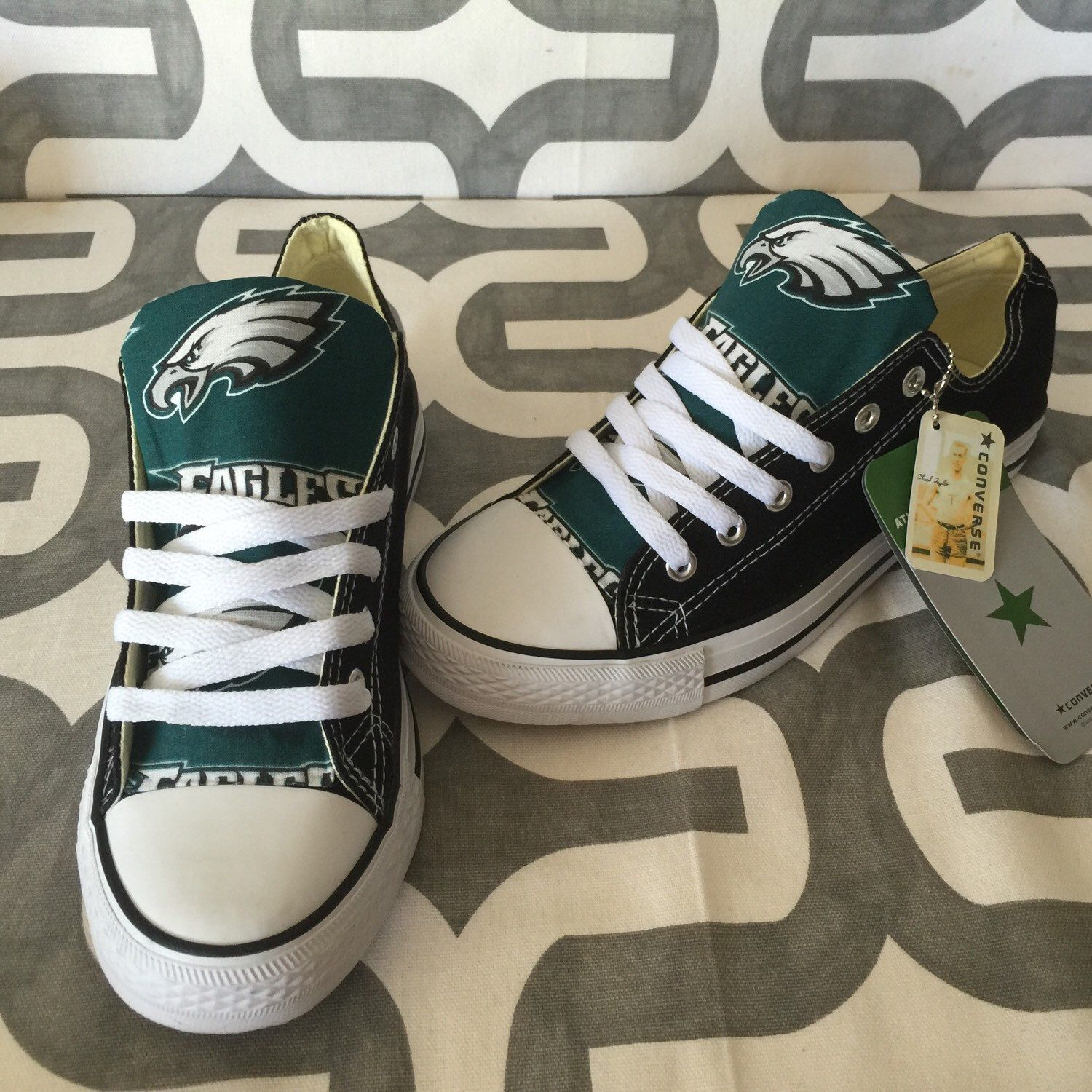 A personal favorite from my etsy shop httpsetsylisting womens custom philadelphia eagles converse with eagles applique on the sides negle Image collections