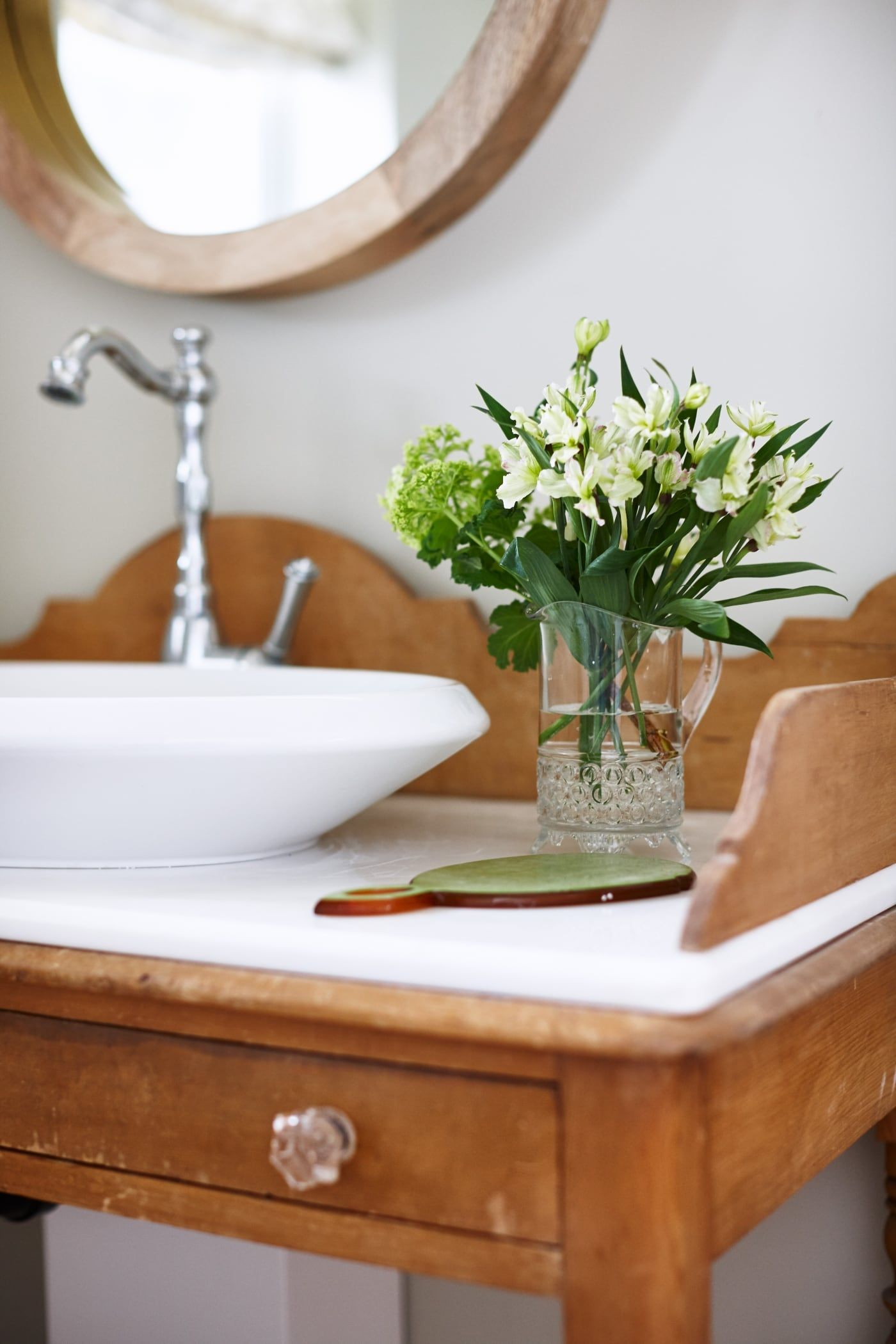 Glenlily Country House Powder Room Repurposed Desk With Sink Detail Luxury Powder Room Sarah Richardson Design Powder Room Sink New country housepowder room