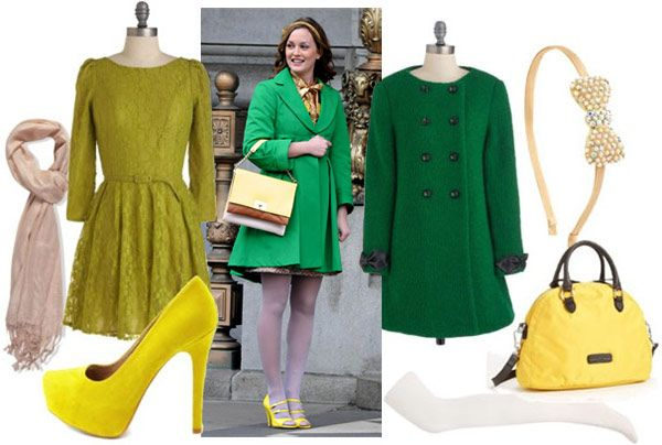 Blair Waldorf Outfit 3: Green Coat, Light Colored Tights, Yellow Shoes,  Green