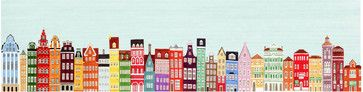 Colorful European Buildings Skyline by Anna See