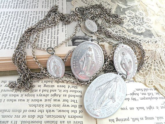 old medal necklace assemblage religious bib by lilyofthevally