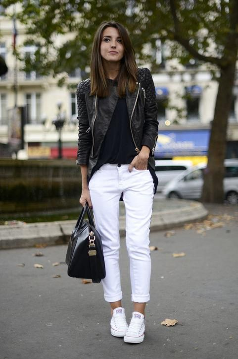 82ad923fc48185 How to wear white jeans  Try with black and white (see 50 ideas by clicking)