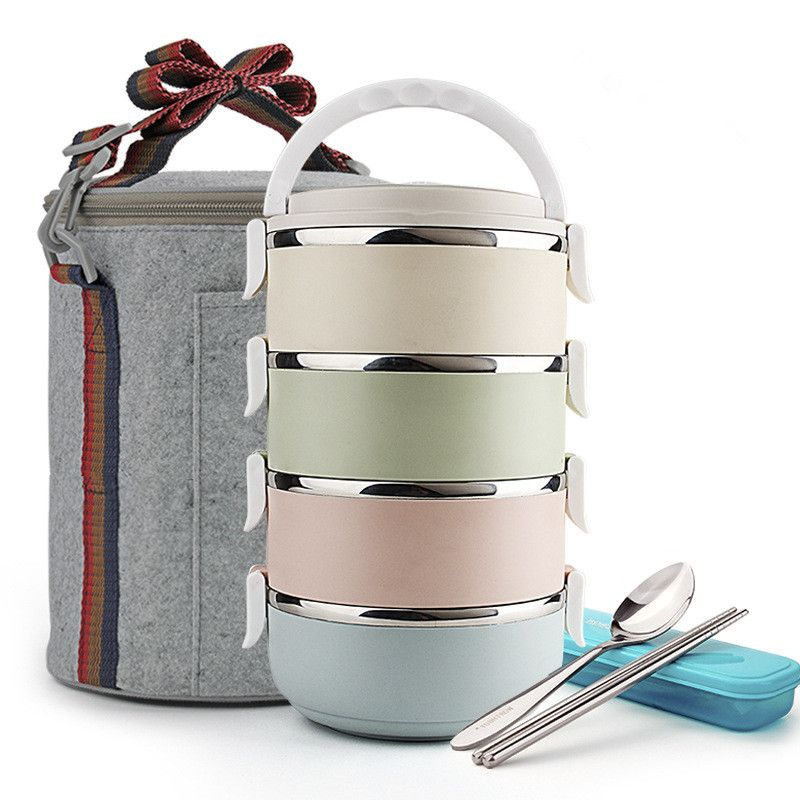 4 Layer Large Stainless Steel Lunch Box With Bag Detachable Random Assembly Dinnerware Set Food Lunch Box Containers Steel Lunch Box Stainless Steel Lunch Box