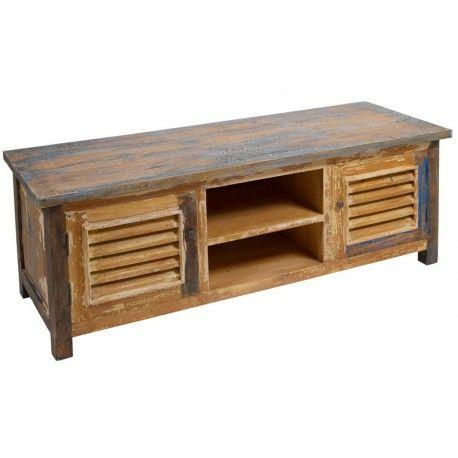 Mueble tv decapado vintage de madera maciza con dos puertas y ...
