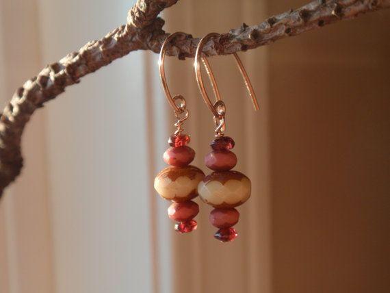 Antiqued czech glass and garnet dangle earrings. by OneZenFlower