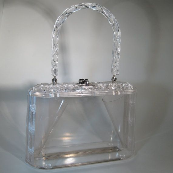 Vintage 1950s Carved Lucite Purse Clear Wedding by unionmadebride, $125.00