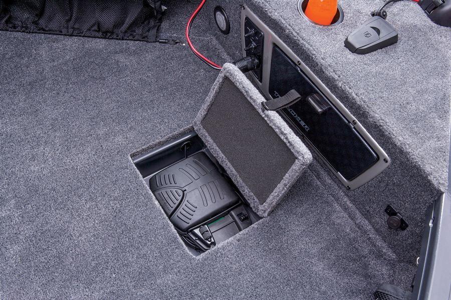Trolling motor foot pedal storage keeps wiring from