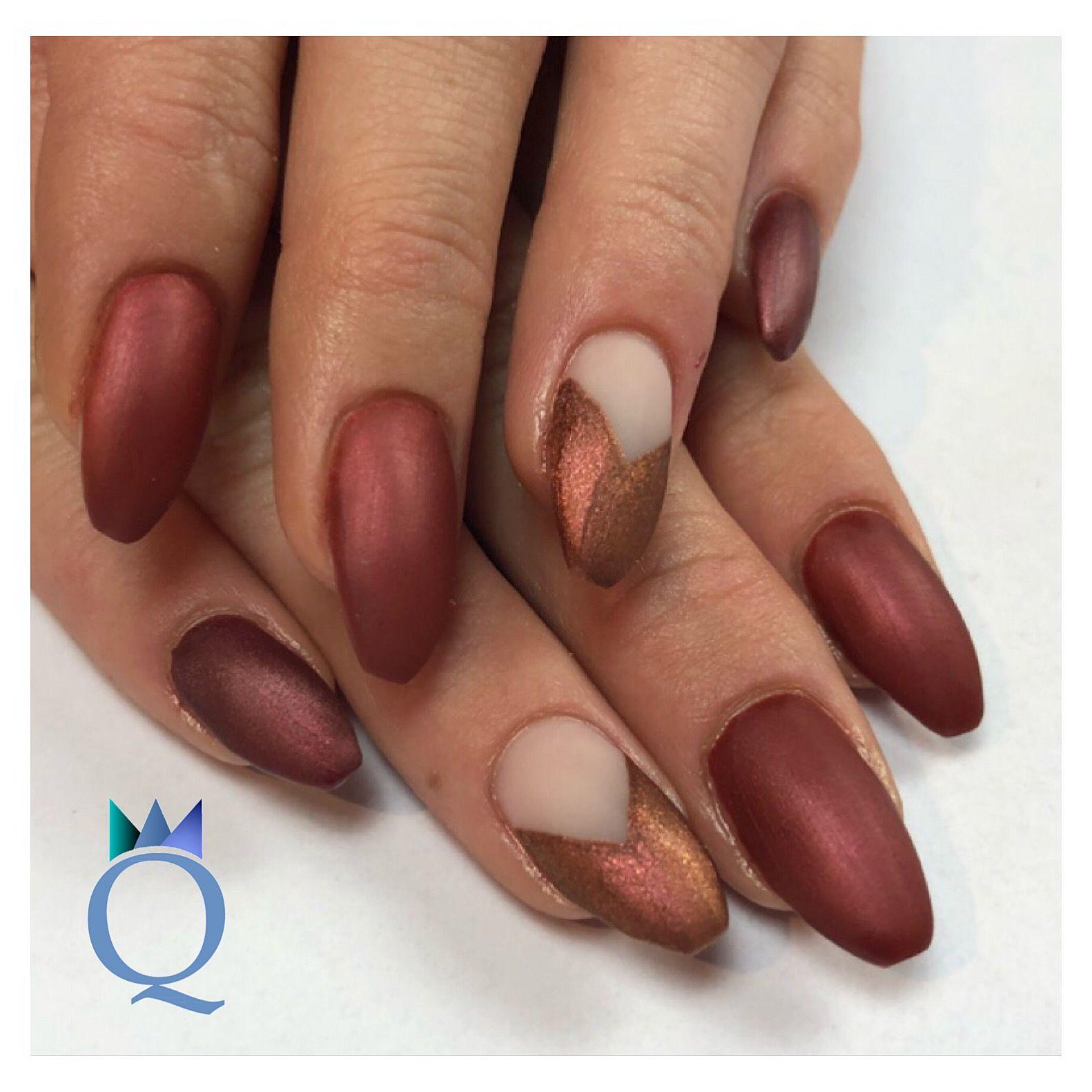 coffinnails #gelnails #nails #red #brown #mat #ballerinaform ...