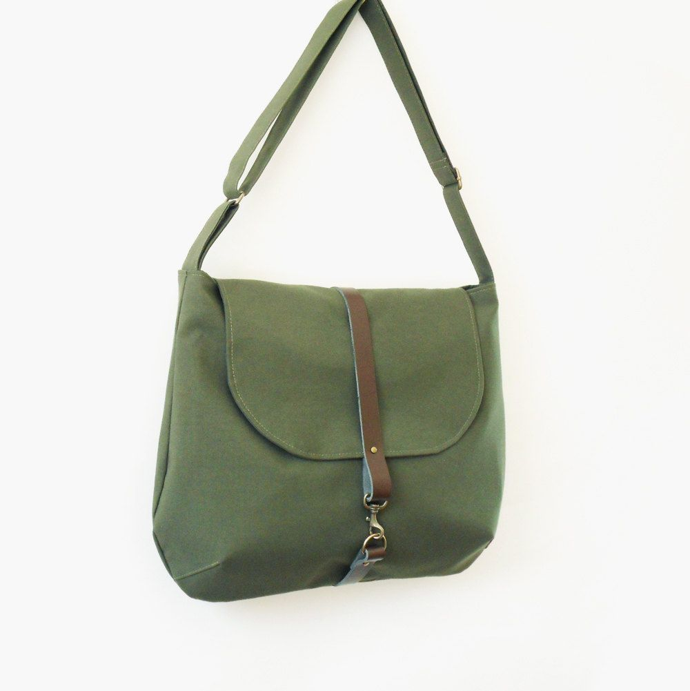 Moss Green Satchel or Messenger with clasp hook closure on lether, Unique Design of BagyBag. $67.70, via Etsy.