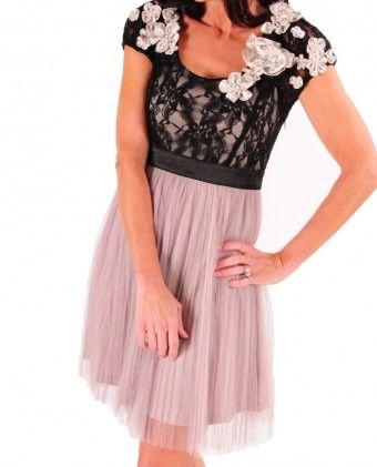 Rosette Collar Mesh Overlay Dress $92