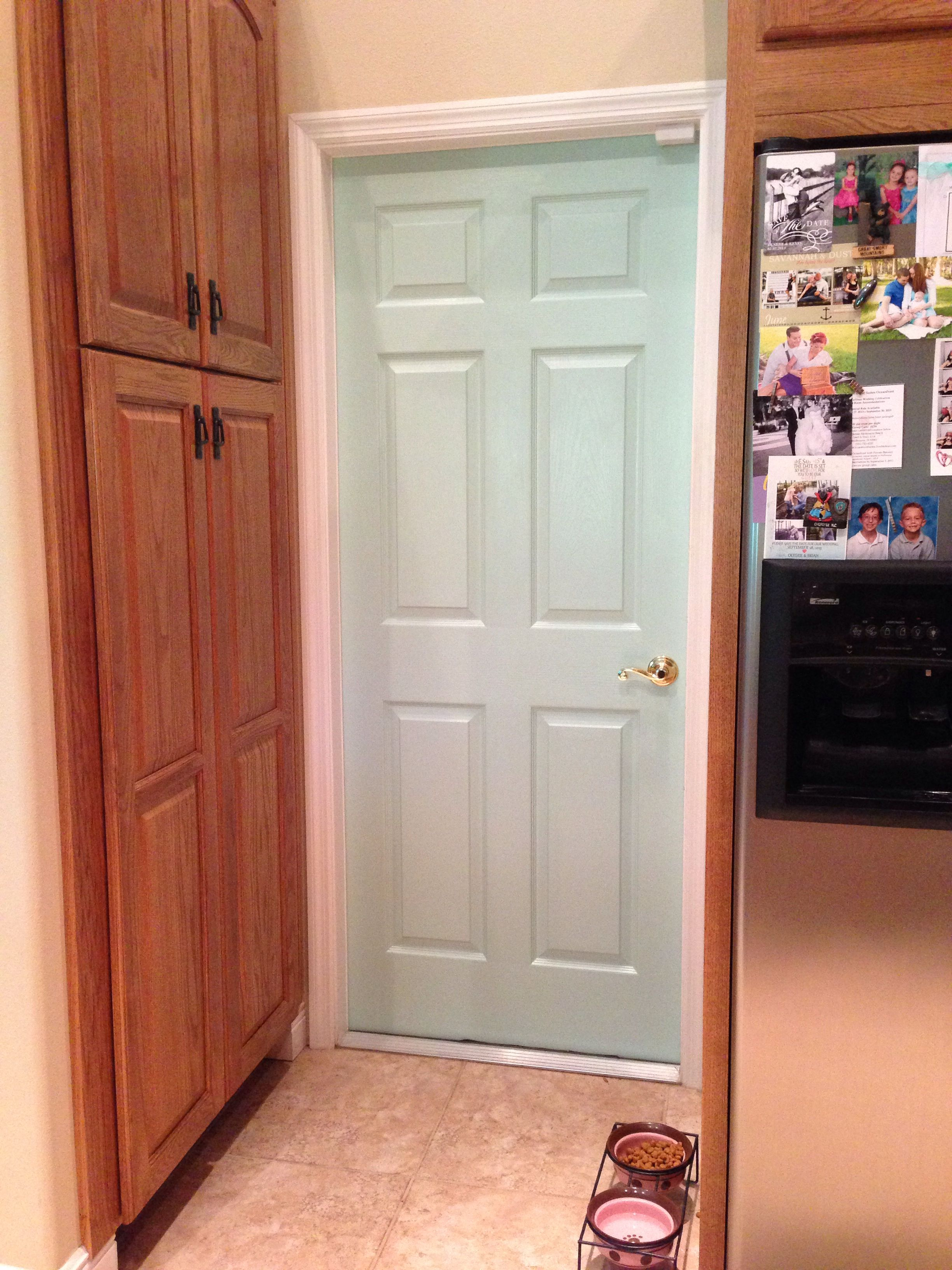 Last weekend's quick home refresh - Mint green door in ...