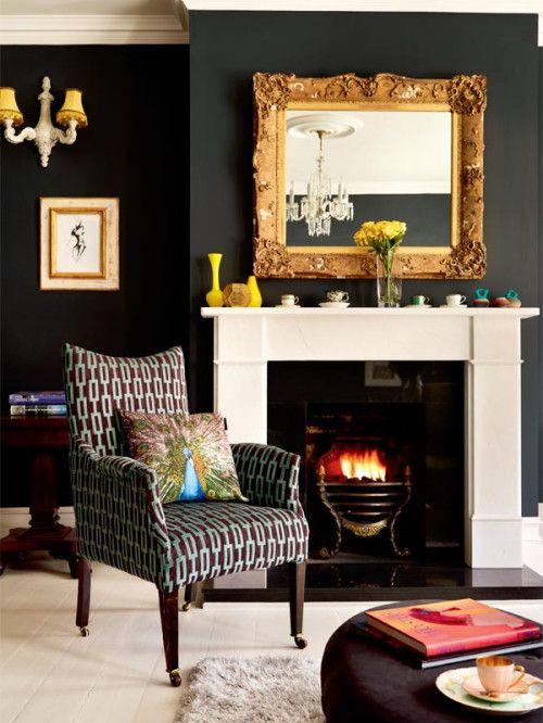 Glamorous Black Home Decor White Fireplace Decor